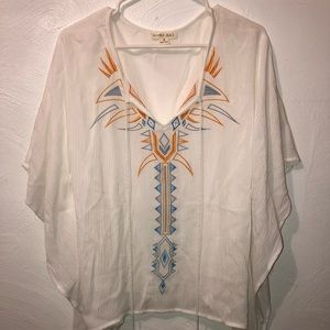 Double Zero - White Poncho Cover Up Top